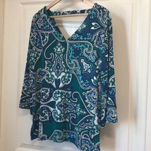 Chico's Travelers Bell Sleeve Blue Green Tunic sz2